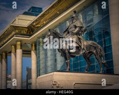 Government Palace, statue, Chinggis Square, Ulaanbaatar, Mongolia - Stock Photo