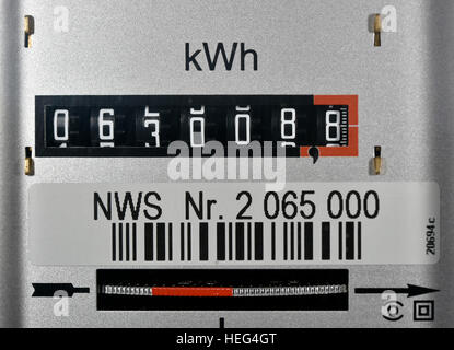 Symbolic image, energy costs, electricity meter - Stock Photo