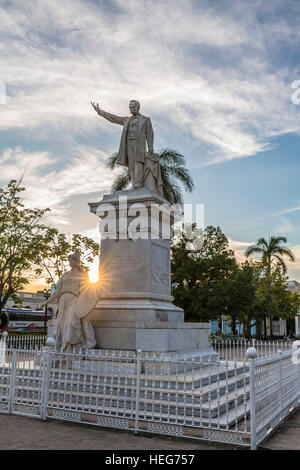 Monument of Jose Marti, freedom fighter and national hero, Cuban poet and writer, Parque Jose Marti, Cienfuegos, - Stock Photo