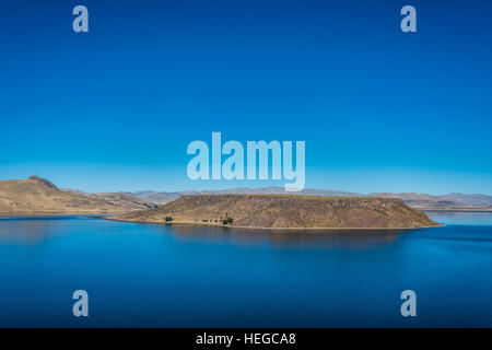 Titicaca Lake from Silustani in the peruvian Andes at Puno Peru - Stock Photo