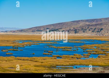 Titicaca Lake in the peruvian Andes at Puno Peru - Stock Photo