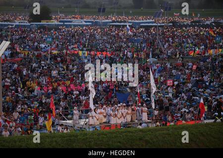 BRZEGI, POLAND - JULY 30, 2016: World Youth Day 2016 , Brzegi near Krakow o/p   pilgrims - Stock Photo