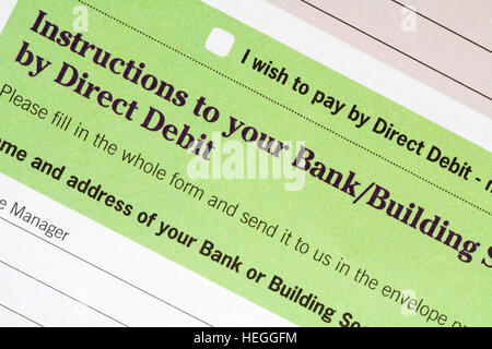 A Direct Debit Form Stock Photo   Alamy