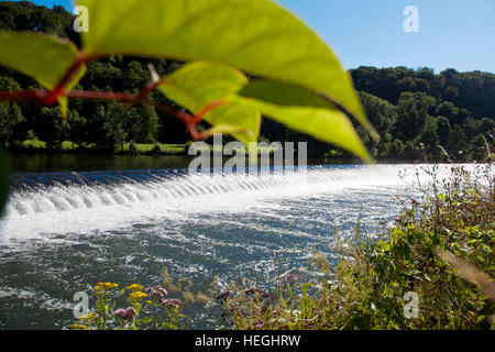 Europe, Germany, Ruhr Area, Witten, river Ruhr, spillway at the sluice in Herbede. - Stock Photo