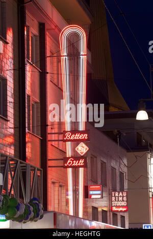 Germany, Ruhr Area, Dortmund, neon light at the pedestrian precinct Westenhellweg in the City. - Stock Photo