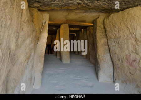 Interior of La Menga Dolmen, dolmens, prehistoric burial chambers, megalithic tombs, Antequera, Andalusia, Spain - Stock Photo
