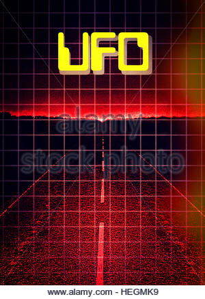 UFO flying saucer night retro flying space craft grays aliens abduction visitors - Stock Photo