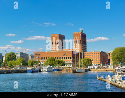 Town Hall and harbour, Oslo. Norway, Europe - Stock Photo