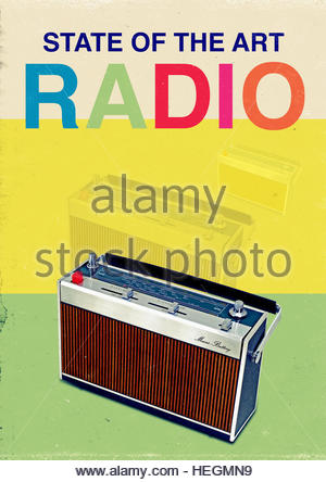 vintage radio mid century retro kitsch lifestyle - Stock Photo