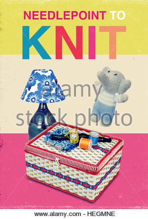 Needlepoint to knit mid century retro kitsch vintage lifestyle - Stock Photo