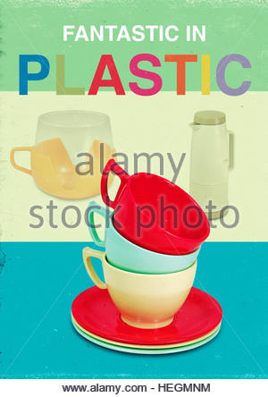 Fantastic in plastic mid century retro kitsch vintage lifestyle - Stock Photo