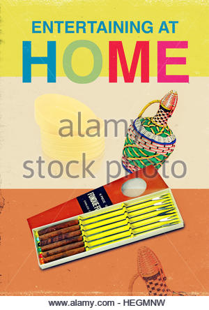 Entertaining home mid century retro kitsch vintage lifestyle - Stock Photo