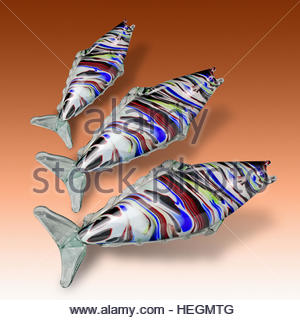 Murano glass fish mid century Italian retro on graduated background mcm fifties ornament kitsch - Stock Photo