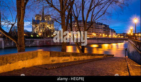 Twilight on Notre Dame de Paris cathedral and banks of Seine River from Ile Saint Louis. 4th Arrondissement, Paris, - Stock Photo