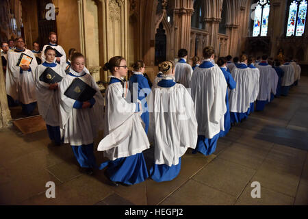 Choristers at Wells Cathedral Choir rehearse and perform at the annual general meeting of Federation of Cathedral - Stock Photo