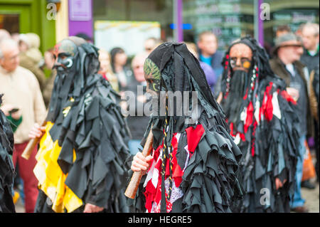 Black Morris dancers at The Annual sweeps festival in Rochester Kent. - Stock Photo
