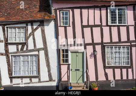 Half Timbered houses in Lavenham Suffolk - Stock Photo