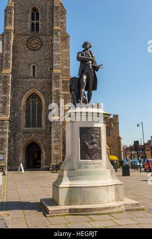 Statue to William Gainsborough In Sudbury Suffolk. - Stock Photo