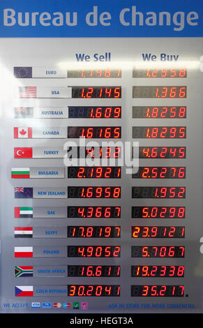 Currency rate board at a Bureau de Change Stock Photo Royalty