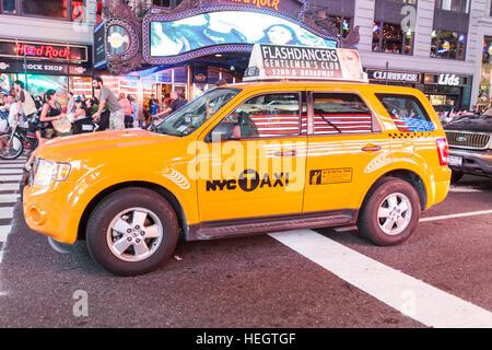 New York City yellow taxi cab - Stock Photo