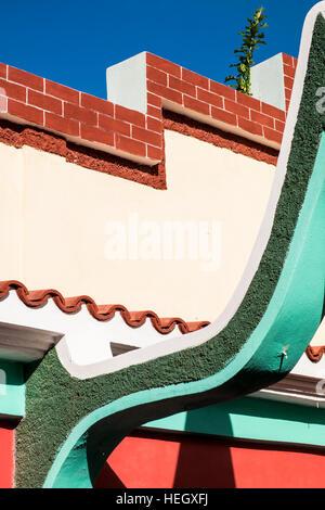 Abstract colourful architectural detail of building in Santiago de Cuba, Cuba - Stock Photo