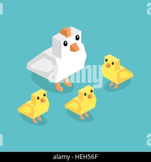 Isometric white chicken with yellow chick. Isometric white 3d chicken with yellow chickens isolated on background, - Stock Photo