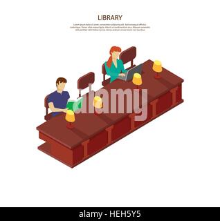 People read for the library table. Students man and woman sitting in the library at table with lamps. The guy is - Stock Photo