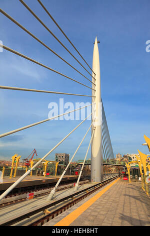 Newly constructed Halic metro station and suspension bridge in Istanbul - Stock Photo
