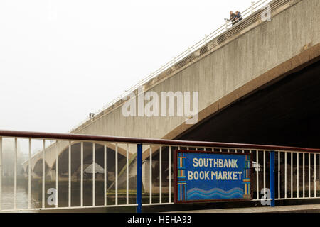 Plaque for South Bank Book Market under Waterloo Bridge, London. In London, England. - Stock Photo