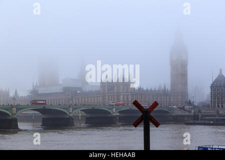 'X' represents a vote - House Of Commons, Westminster Bridge and the River Thames in the fog. In London, England. - Stock Photo