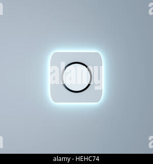 White button with neon mockup 3d render - Stock Photo