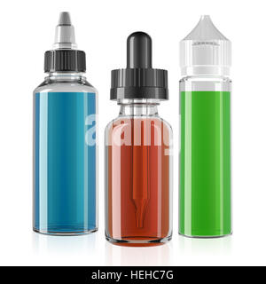 three vape bottle with liquid mockup 3d render - Stock Photo