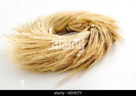 Wheat spikes, wreath, autumn decoration - Stock Photo