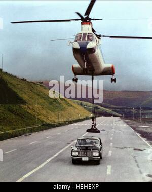 HELICOPTER, CAR CHASE SCENE, YOU ONLY LIVE TWICE, 1967 Stock