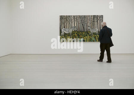 Raffi Kalenderian 'Spirit Guides and Sunflowers' at the Painters painters exhibition, the Saatchi Art Gallery London - Stock Photo