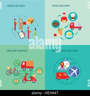 Delivery Variants Flat Set. Set of different variants of shipping or transportation or delivery of food goods cargo - Stock Photo