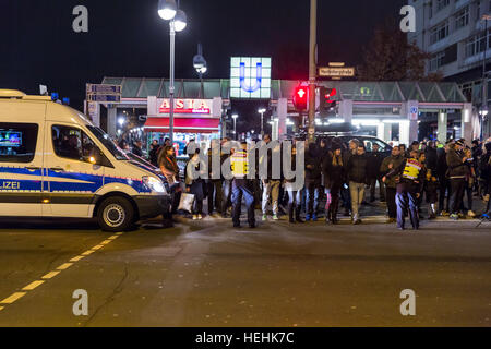 Berlin, Germany, police operation at the Christmas market on Breitscheidplatz - Stock Photo