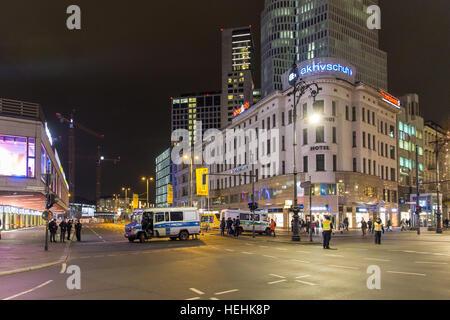 Berlin, Germany, police operation on the Christmas market at Breitscheidplatz - Stock Photo