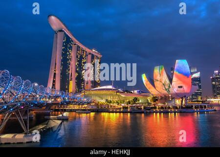 Marina Bay Sands Hotel and ArtScience museum, Singapore - Stock Photo