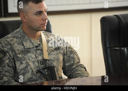 U.S. Army Capt. Jeremiah Corbin from Cleveland. Ohio, commander of F Company, 2nd Battalion, 505th Parachute Infantry - Stock Photo