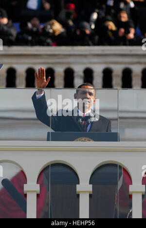 President Barack Obama gives his inaugural address in Washington, D.C., Jan. 20, 2009.  More than 5,000 men and - Stock Photo