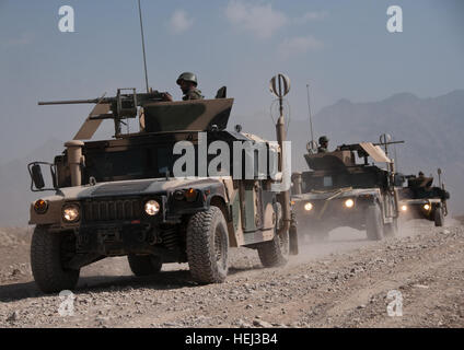 15th of september kabul Afghanistan; ANA doing a route clearence patrol exercise at the KMTC(Kabul Militairy Training - Stock Photo