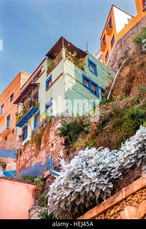 Many Colored Green Blue Pink Houses of Guanajuato Mexico - Stock Photo