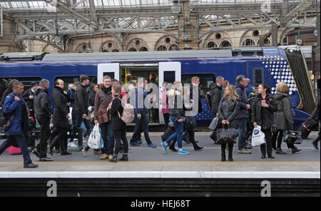 Packed Scotrail Abellio train carriage. Petition to bring back into state ownership,after poor service - Stock Photo