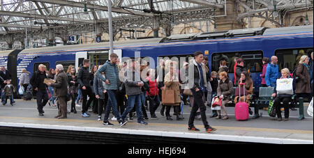 Scotrail Abellio congested train carriage,petition to bring back into state ownership,after poor service - Stock Photo