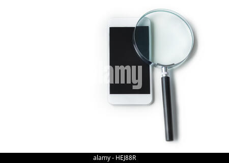 Two objects which are magnifying glass plus smartphone - Stock Photo