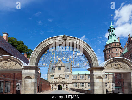 Møntporten, The Mint Gate at Frederiksborg Castle in Hillerød, Hilleroed close to Copenhagen, Denmark - Stock Photo