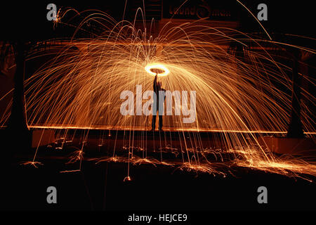 Steel Wool Light Painting, Aurangabad, India - Stock Photo