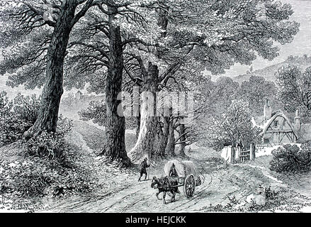Our English Home, idyllic pastoral country scene with cart on unmade lane, illustration from 1884 Chatterbox weekly - Stock Photo