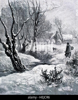 woman walking though snow to reach country cottage, illustration from 1884 Chatterbox weekly children's paper - Stock Photo